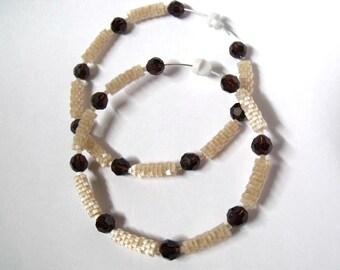 Coffee brown and beige hoop earrings | large hoop earrings | brown crystal hoop earrings | glass woven beaded beige jewelry