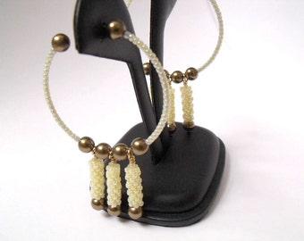 Yellow hoop earrings beaded jewelry seed bead earrings woven dangles