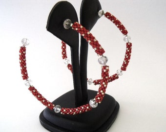 Crystal beaded red hoop earrings | beaded red jewelry | woven beaded hoop earrings
