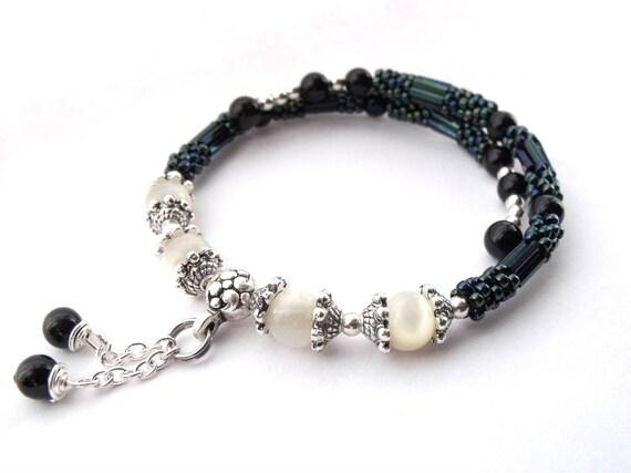 teal seed bead wire bracelet memory wire bracelet beadwork