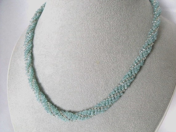 spiral green necklace seed bead jewelry woven by fmguydesigns