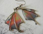 """Fairy Wings Earrings, Black Fairy Wing Earrings, """"Will-o-Wisp"""""""