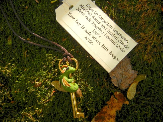 Dragon Necklace, Key Guardian Dragon, Green Dragon, Hand Sculpted dragon, fairy tale, skeleton key necklace
