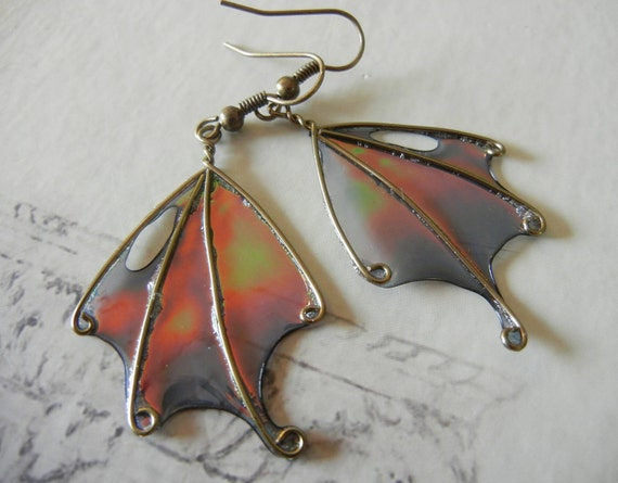 "Fairy Wings Earrings, Black Fairy Wing Earrings, ""Will-o-Wisp"""