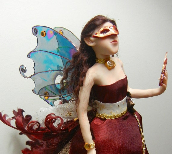 "RESERVED for NalsWorkshop- Masquerade Ball Fairy Art Doll, OOAK Fairy Sculpture, Faerie ""Isabel"""