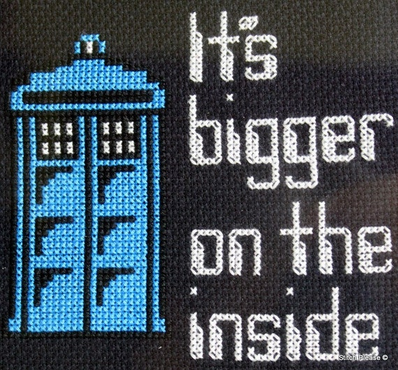 Doctor Who It's Bigger On The Inside Tardis Cross Stitch