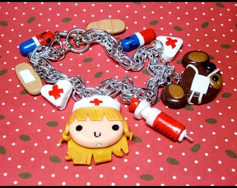 Teddy Bear Hospital Bracelet, Original Design, Nurse, Bear Hospital, Nurse Gift