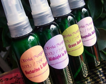 YOU CHOOSE 4 Body Hair Moisturizing Mist. Spray, Spritzer.  Vegan. More than 250 scents. Custom made. Paraben & alcohol free. Olivia Morgana