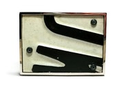Belt Buckle License Plate Black White Upcycled