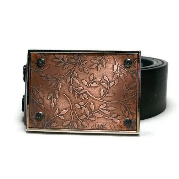 Womens Belt Buckle Etched Copper Leaves and Vines Eco Friendly