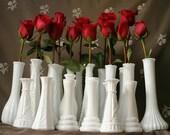 Reserved for Kimberley M - 25 Milk Glass Bud Vases