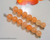 Glass Beaded bobby slides - Marbled orange tangerine delight decorative embellish fancy fun girl unique hair accessories TREASURY ITEM