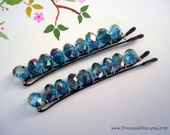 Crystals Beaded hair slides - Blue zircon aurora borealis TREASURY ITEM - PrincessJillian