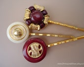 Vintage buttons hair clips - SALE Red gold trio TREASURY ITEM