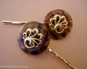 Amber gold peacock TREASURY ITEM - vintage button bobby pins