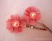 Fabric hair grips - Victorian old rose TREASURY ITEM
