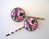Cabochon bobby pins - Spring artisan delight polymer clay art fun girl wearable art embellish decorative hair accessories TREASURY ITEM