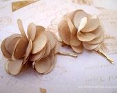 Bridal Fabric hair slides - Cream floral ruffles TREASURY ITEM