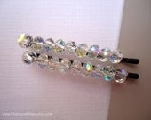 Bridal Crystals Beaded bobby pins - Sparkly crystals aurora borealis unique glass minimalist simple decorative hair accessory TREASURY ITEM