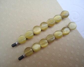 Beaded hair pins - Simple amber gold dots decorative simple minimalist hair accessories TREASURY ITEM