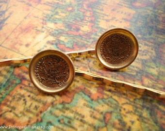 Vintage button hair slides - Thaler 1780 gold coin decorative embellish hair accessories Last Pair TREASURY ITEM