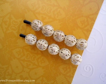 Beaded hair pins - Filigree silver ball simple girl lightweight chic modern unique fun embellish decorative hair accessories TREASURY ITEM
