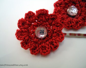 Crochet bobby pins - Ruby red peonies decorative hair accessories TREASURY ITEM