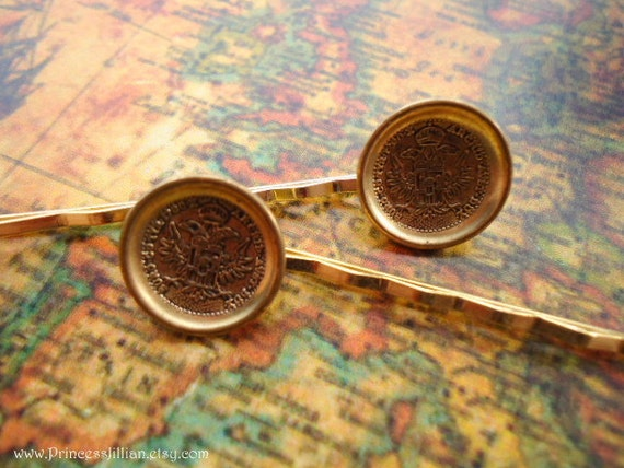 Vintage button hair slides - Thaler 1780 gold coin decorative embellish hair accessories Last Pair TREASURY ITEM