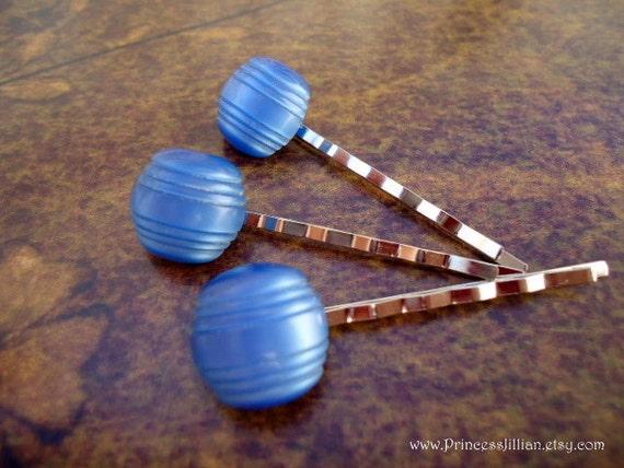 Vintage buttons hair pins - Blue barrels glass shiny unique simple decorative hair accessories LAST trio TREASURY ITEM