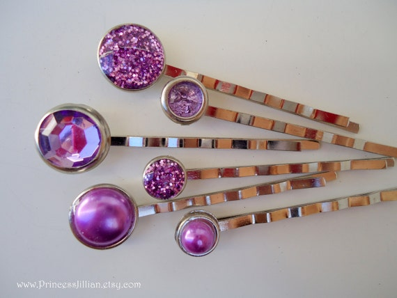 Cabochon bobby pins - Spring purple pearls and glitters gem jewel decorative lilac lavender embellish jeweled hair accessories TREASURY ITEM