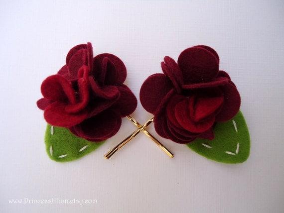 RESERVED for drvinitarathod -Felt hair clips - Crimson red ruffle flowers TREASURY ITEM