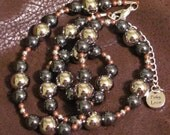 Stunning Mixed Metal Beads with Hematite - FREE Earrings  - One of a Kind - Designs by Pinky Loco