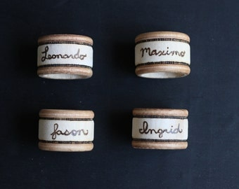 4 Personalized Napkin Rings - Personalized Place Card Holders - Kitchen Gift- GUARANTEED for XMAS