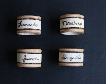 6 Personalized Napkin Rings - Personalized Place Card Holders - Kitchen Gift