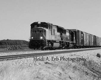 Train photography, Black and white photography, Train print, photography print, blank note card, photo card, train print,