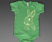 Yellow Bunny Rabbit on Green American Apparel Onesie