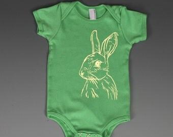 Yellow Bunny Rabbit on Green American Apparel Onesie