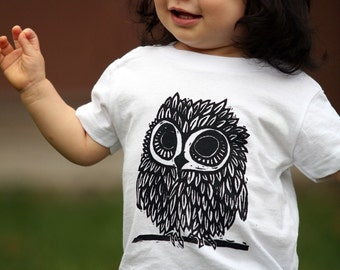 Owl on White American Apparel T Shirt