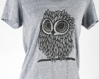 Owl on Heather Grey Tri Blend Women's American Apparel T Shirt Ready To Ship