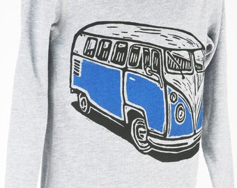 Van on Heather Grey Thermal Children's American Apparel Long Sleeve