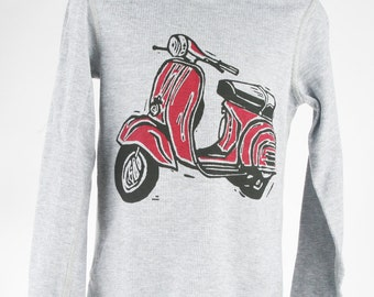 Scooter on Heather Grey Thermal Children's American Apparel Long Sleeve