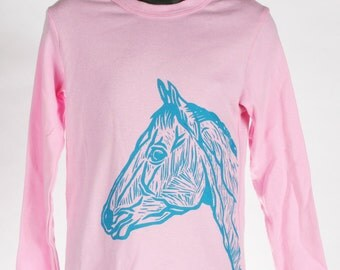 Horse on Pink American Apparel Long Sleeve 2t, 4t, 6t, 8y, 10y, 12y