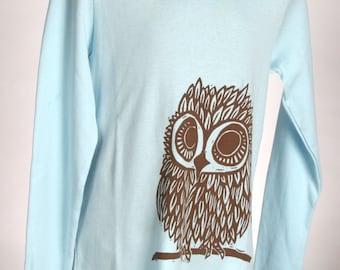 Owl on Light Blue Children's American Apparel Long Sleeve Shirt
