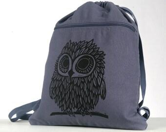 Owl on Denim Blue Canvas Cinch Sack Ready To Ship!!!!