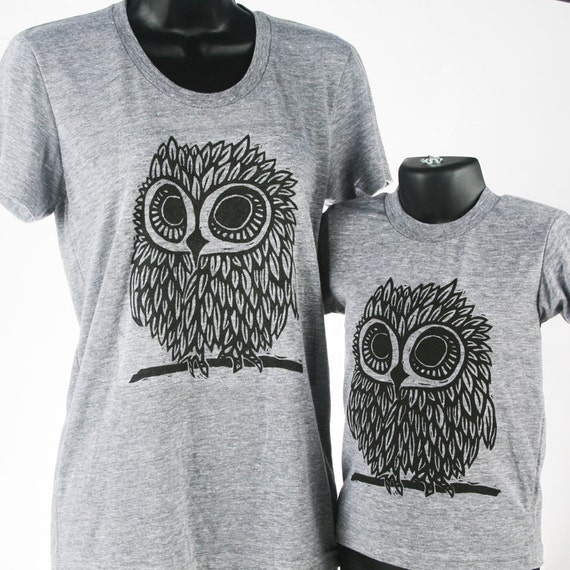 Owl on Heather Grey Tri Blend Women's and Children's American Apparel T Shirt