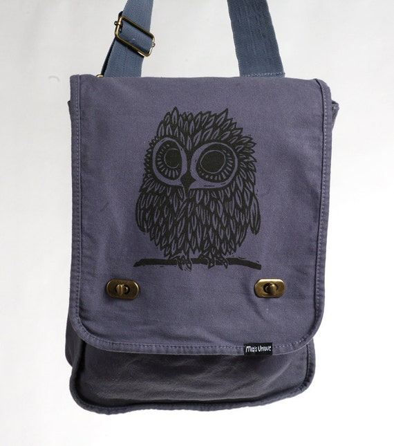 Owl Messenger Bag Denim Blue