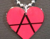 Wearable Art Jewelry DIY Anarchist Jewelry Anarchy Necklace Symbol Anarcho Punk Crust Punk Radical Love Heart Pendant Necklace 24 Inch Chain