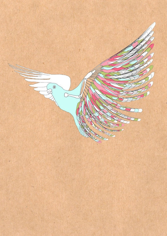 Winterbird. Bird, wings. Art print, nursery illustration, kids wall art, limited edition A3 print, 3 for 2 offer, Affordable art