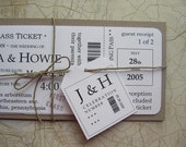 Boarding Pass Wedding Invitation Package, Vintage travel First Class ticket invitation with tag & twine