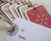 Festive Holiday Gift Tags set - Christmas, holly and snowflakes